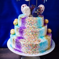 New Year's Glitter Bomb Champagne Cake